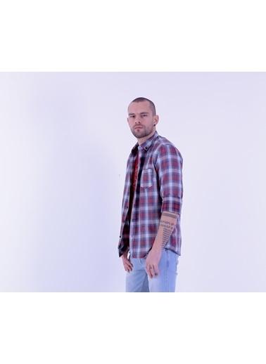 Cazador Slim Fit Uzun Kollu Ekose Desenli Gömlek Bordo